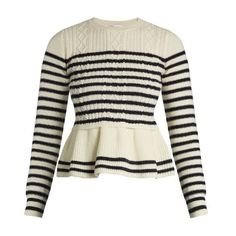 REDValentino Striped wool peplum sweater ($595) ❤ liked on Polyvore featuring tops, sweaters, blue white, wool cable sweater, breton stripe sweater, striped sweaters, cable knit peplum sweater and striped top