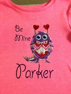 Valentine's Day Heart Monster Tshirt by JJEmbroideryDesigns