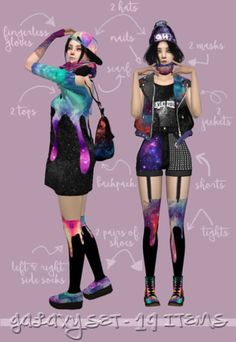 Galaxy set lookbook for The Sims 4