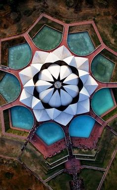 "kelledia: "" Aerial view of the Lotus Temple in New Delhi, India. Architecture Temple, Islamic Architecture, Concept Architecture, Historical Architecture, Architecture Details, Architecture Images, Green Architecture, Architecture Drawings, Lotus Temple"