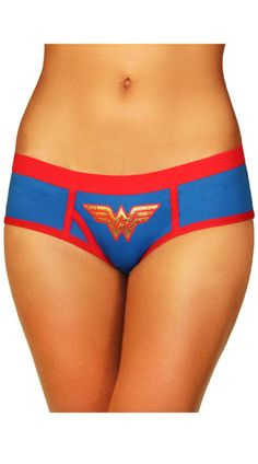 This cute blue panty features a red trim, a gold Wonder Woman logo, piping details, and a cheeky cut back. Wonder Woman Boyshort Panty, Blue and Red Panty, Wonder Woman Panty #panties #officiallylicensed #hipster