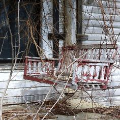 A nice, simply styled, porch swing. a *new* one would be perfect for my old house. Old Buildings, Abandoned Buildings, Abandoned Places, Banksy, Forgotten Treasures, Hidden Treasures, Old Barns, Abandoned Mansions, Haunted Places