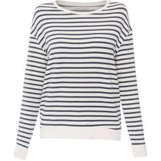 Majestic Filatures Cream And Navy Striped French Terry Top (665 RON) ❤ liked on Polyvore featuring tops, stripes, crew top, stripe top, crew neck top, navy blue top and striped top