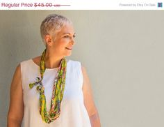 SUMMER SALE Lime green textile necklace  Multi strand by ATLIART
