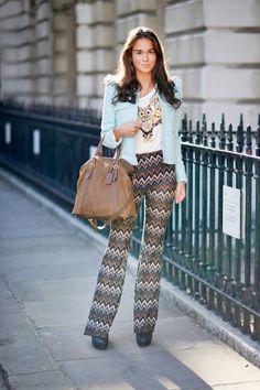 In London, Theresa pairs River Island pants with a Zara blazer and Prada bag #streetstyle
