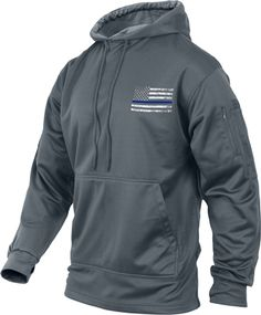 Our new Thin Blue Line Flag Grey Moisture Wicking Sweatshirt offers warmth, comfort, concealment, and easy access to your holstered gun!