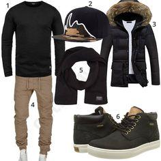 Schwarzes Winteroutfit mit beiger Cargo-Chino (m0866) #cap #sneaker #schal #pullover #cap #jacke #outfit #style #herrenmode #männermode #fashion #menswear #herren #männer #mode #menstyle #mensfashion #menswear #inspiration #cloth #ootd #herrenoutfit #männeroutfit