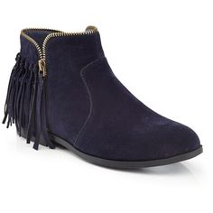 EXTREME By Eddie Marc Sarine Fringe Bootie (€28) ❤ liked on Polyvore featuring shoes, boots, ankle booties, blue, fringe bootie, fringe ankle boots, blue bootie, fringe booties and short boots