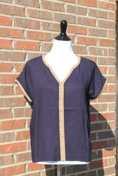 Navy Short Sleeve Top with Yellow Embroidery
