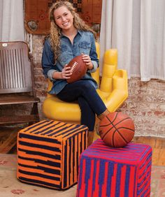 Watch your favorite team with your feet up on a footrest with your team's colors! This ottoman cover is crocheted using yarn that changes color automatically. #redheartyarn