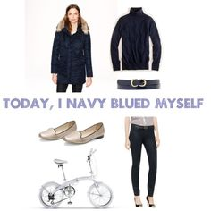 """Navy Blue Fall Fashion with Bicycle"" by vela-bike on Polyvore"