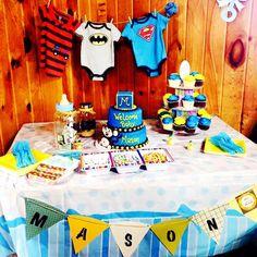 Superhero baby shower ideas.  #babyshower #babyparty  #inspiration #superhero