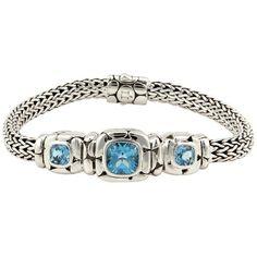 Pre-owned John Hardy Sterling Silver Blue Topaz Kali Bracelet ($695) ❤ liked on Polyvore featuring jewelry, bracelets, preowned jewelry, sterling silver jewelry, john hardy bangles, john hardy jewellery and john hardy jewelry