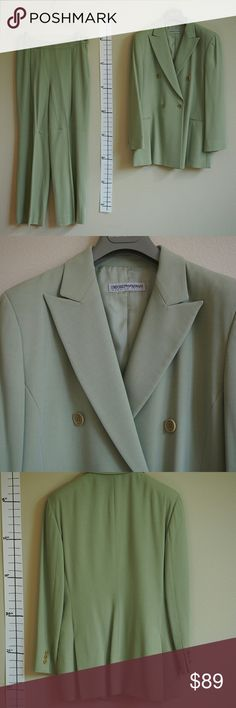 """Emporio Armani Vintage Spring Green Suit Set Purchased 15+ years ago, vintage style  Suit jacket - size 44 Shoulders: 18"""" Chest: 18"""" Sleeve length: 23"""" Length: 30"""" - two front pockets  Suit pants - size 44 Waist: ~28"""" Front rise: 11"""" Length: 39"""" Thigh: 12"""" Leg opening: 10"""" - 1 back pocket - side zipper and button closure - small hole in the butt shown in the last photo  Reasonable offers welcome! No trades :) Emporio Armani Jackets & Coats"""
