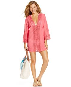 La Blanca Crochet-Trim Tunic Cover-Up