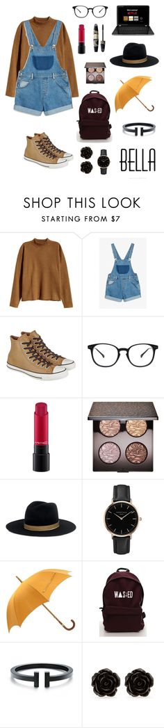 """""""Untitled #53"""" by alleesh ❤ liked on Polyvore featuring H&M, Monki, Converse, Max Factor, MAC Cosmetics, Laura Mercier, Janessa Leone, Topshop, Hermès and Erica Lyons"""