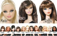 12 Basic Barbie Dolls and their face sculpts. All are Barbies, the name underneath is their face style.