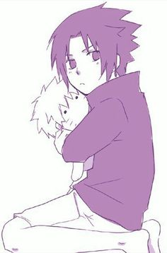 Sooo cute ♡ Sasuke has a Naruto plush toy #naruto #sasuke #cute