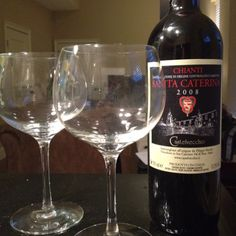 Drink of choice tonight (paired with sun dried tomato, roasted b-sprouts & asparagus risotto) it's a really rich flavored Chianti - could hold its own any red meat
