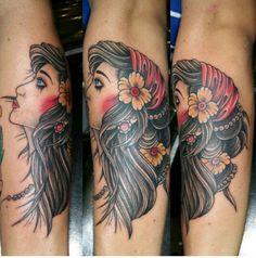 Gypsy girl forearm tattoo