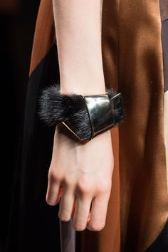 Accessory Report: Milan Fashion Week Fur bracelet for Fall 2015 Ferragamo - Fur bracelet for Fall 2015 Ferragamo - Leather Accessories, Leather Jewelry, Jewelry Accessories, Fashion Accessories, Jewelry Design, Fashion Jewelry, Fashion Earrings, Bijoux Wire Wrap, Bracelet Cuir