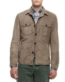 N2DJ8 Brunello Cucinelli Suede Shirt Jacket, Green