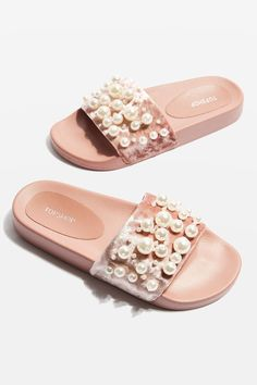 HAILEY Velvet Pearl Sliders - New In Fashion - New In - Topshop Europe