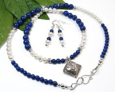 Silver Heart Necklace Heart Beaded Necklace Blue by @PrettyGonzo #MothersDayGift #JewelrySet #BMECountdown