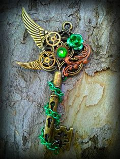 The Steampunk Garden Fantasy Key by ArtbyStarlaMoore on Etsy