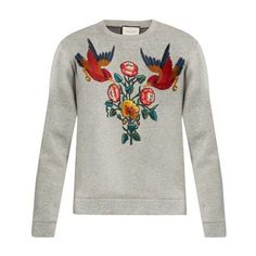 Gucci Bird And Flower-appliqué Cotton Sweatshirt Closet On The Go ❤ liked on Polyvore featuring tops, hoodies, sweatshirts, white cotton sweatshirt, cotton jersey, white embroidered top, jersey sweatshirt and gucci sweatshirt