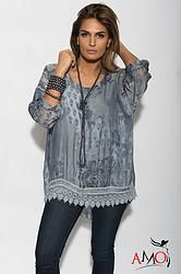 Blouse features delicate embroidery, lace up tie, sheer cap sleeves, unique marbled fabric design and relaxed fit. Peplum Blouse, Fashion Seasons, Crochet Trim, Couture, Plus Size Blouses, Lace Knitting, Knit Dress, Crochet Dresses, Vestidos