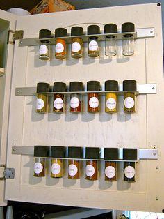 Spices on inside of cupboard door. In a small kitchen this is key. Kitchen Organization, Organization Hacks, Kitchen Storage, Organizing Ideas, New Kitchen, Kitchen Decor, Kitchen Design, Kitchen Ideas, Smart Kitchen