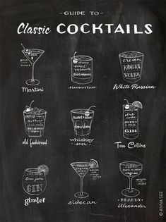This hand drawn illustrated Guide to Classic Cocktails brings you back to the Mad Men era of vintage classic cocktails with all the ingredients to make