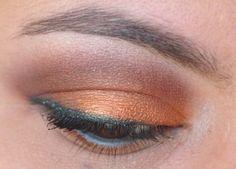 A gorgeous look using Sweet Libertine's Thai Silk. makeup nail, oranges, dark green, thai silk, green liner