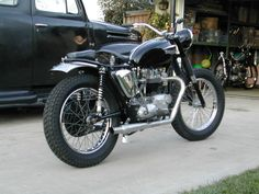 """Great looking classic Triumph set up for """"dirt"""", - but I would still want a front brake."""