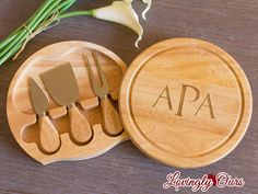 Personalized cheese board is a great wedding gift or housewarming gift! It includes a laser engraved monogram, name or initial (depending on the design that you want).  This 7.5 cheese board swings open to reveal the cheese tools housed under the swivel-style board. Accessories included are: a hard cheese knife, a chisel knife, and a cheese fork with wooden handles. The split level circular cutting board has 44 square inches of cutting surface and is made of eco-friendly rubberwood.  We…
