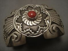 MUSEUM VINTAGE NAVAHO SWIRLING CORAL SILVER RING