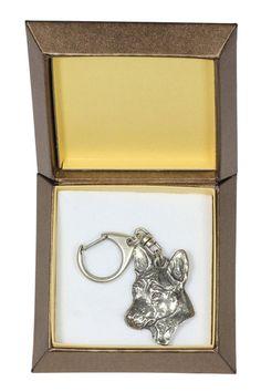 NEW Basenji dog keyring key holder in casket by ArtDogshopcenter