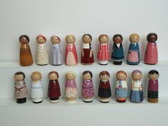 """The first eighteen """"cuties"""" are finished! Every historical American Girl character in her meet outfit is represented, including two Felicity. Doll Crafts, Diy Doll, American Girl Diy, Wooden Pegs, Girls Characters, Cool Things To Buy, Crafty, Dolls, Heritage Center"""