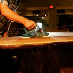 Planing a long live-edge black walnut bar top at District Social . So sturdy it could double as a dancefloor. Restaurant Furniture, Commercial Interiors, Long Live, Custom Furniture, Bar, Projects, Bespoke Furniture, Log Projects, Blue Prints