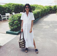 Leandra Medine in an easy white shirt-dress