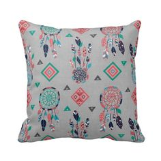 Zippered Dreamcatcher Bohemian Feather Throw Pillow Cover - Turquoise Navy Coral Pink Grey - 14x14 16x16 18x18 Removable Pillow Case Cushion