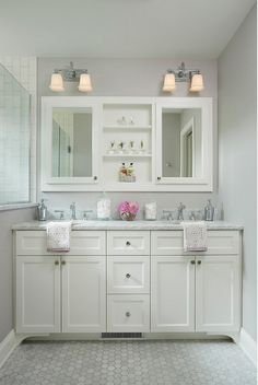 "Small bathroom vanity dimensions. Small bathroom vanity dimension ideas. This custom double vanity measures 5' - 8 1/2"" wide. #SmallBathroom #Vanity #Dimensions"
