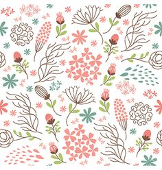 Seamless floral pattern vector by Lenlis on VectorStock®