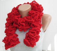 Red knit ruffle scarf spring fashion by aegeanblossom on Etsy, $23.00