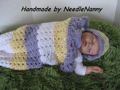Articoli simili a Uncinetto Baby Cocoon fasciare Sack coccola a mano sacco neonato per Pasqua o primavera accessori bambine coperta e cappello su Etsy