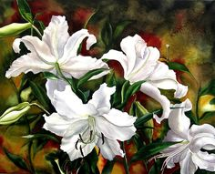 White Lilies Painting by Alfred Ng
