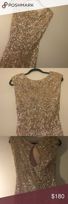 Alice and Olivia Mini Sequined Dress Gold sequined mini dress. Alice + Olivia Dresses Mini