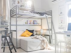 Maximise small space with IKEA SVÄRTA steel loft bunk bed frame and ladder mount. There's room for another person down below, or a sofa and living room space. Ikea Bunk Bed, Bunk Beds Small Room, Loft Bunk Beds, Kids Bunk Beds, Small Rooms, Small Spaces, Ikea Girls Bedroom, Bedroom Ideas, Bedroom Inspiration