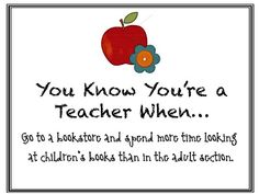 """""""You Know You're a Teacher When....."""" (see site for other scenarios!)"""